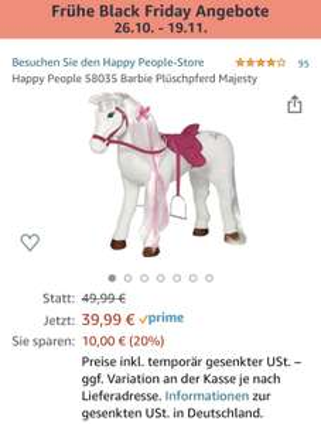 Happy People 58035 Barbie Plüschpferd Majesty