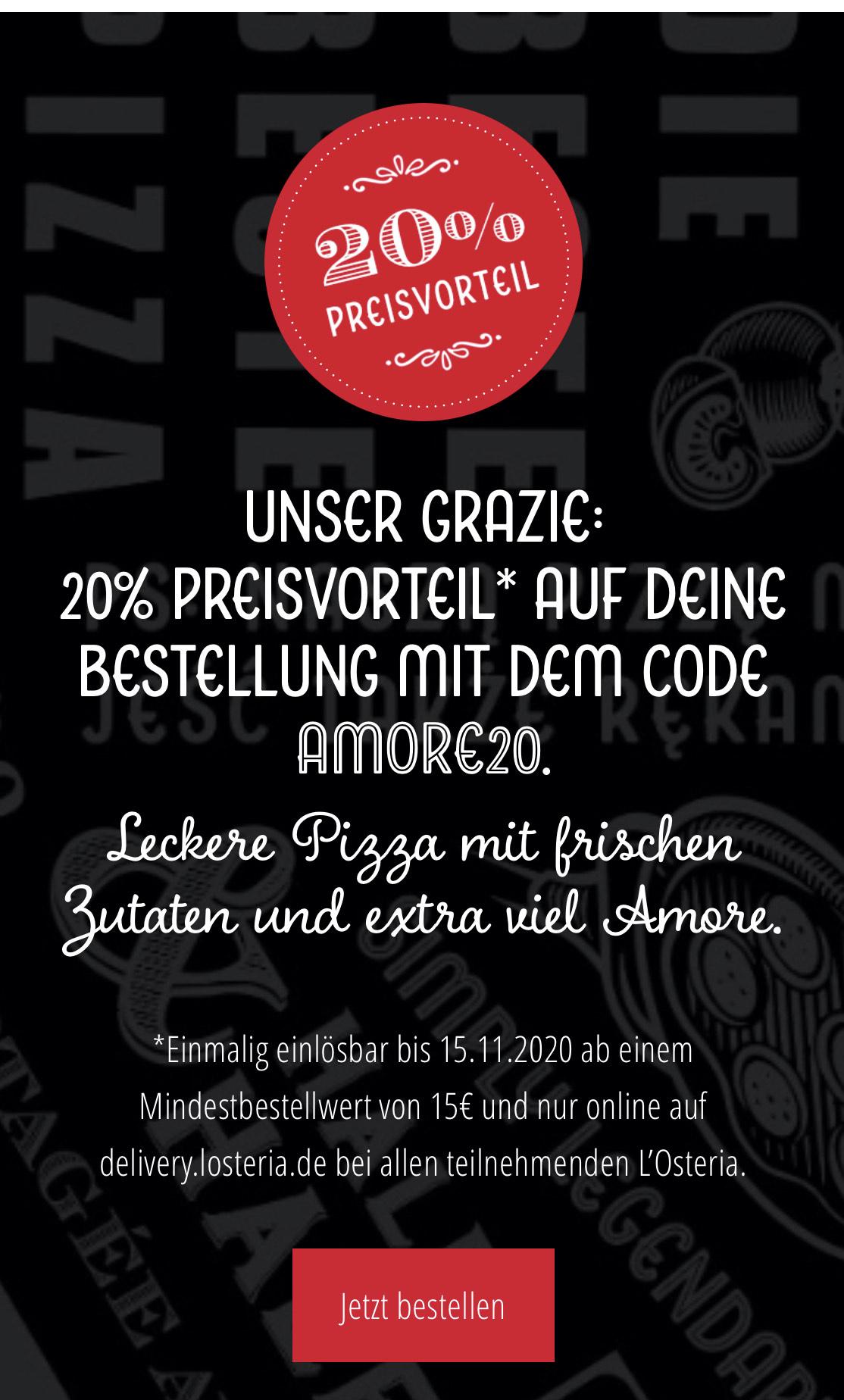 20% bei L'Osteria auf Online Bestellung bis 15.11.2020
