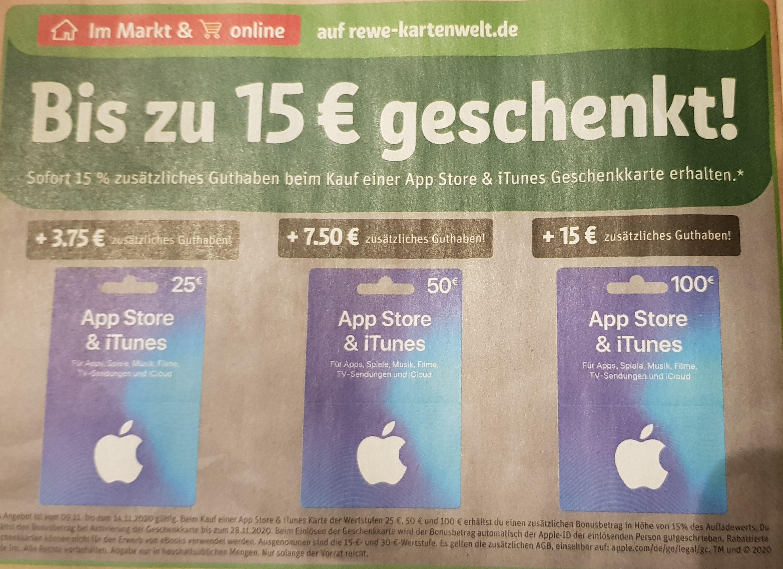 15% Extra Guthaben für App Store und iTunes Geschenkkarten, rewe online und offline