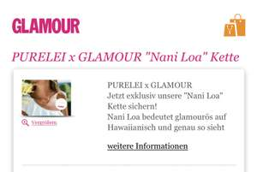 Glamour Mini-Abo (2 Ausgaben) für 5,60€ mit Kette von Purelei im Wert von 30€