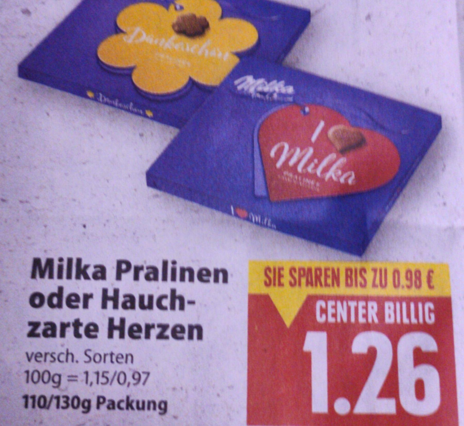 [Edeka Center Minden-Hannover] 4x Milka Pralinen oder Hauchzarte Herzen mit Coupon oder Coupies Cashback für (effektiv) 3,04€