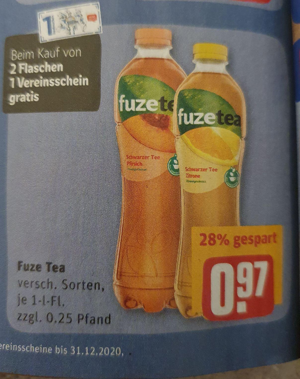 (Rewe) 2x Fuze Tea für 1,94€ durch Coupies/Rewe Coupon effektiv nur 0,94€ (freebie durch beide Coupons möglich)
