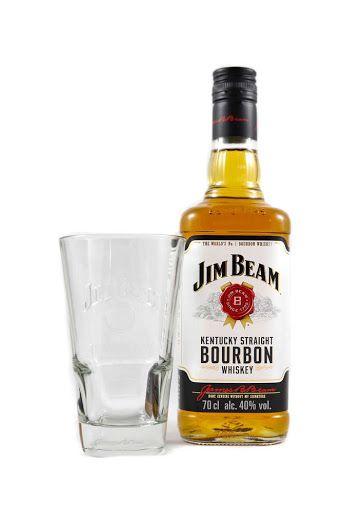 Jim Beam Kentucky Straight Bourbon Whiskey 40%, 0,7 l Flasche mit Glas, Real
