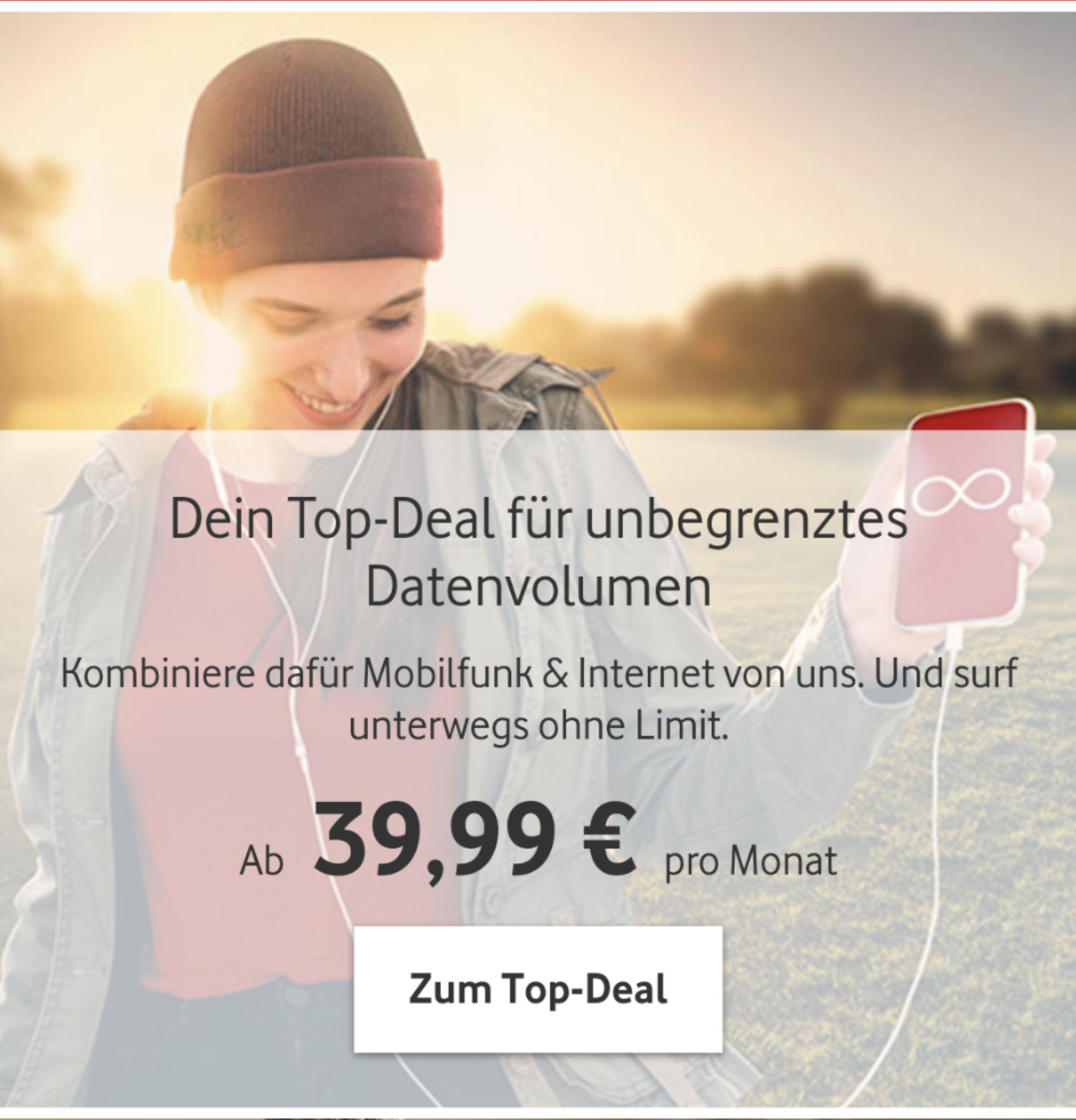 [Vodafone DSL Kunden] Vodafone Red M mit Unlimited Daten bis 500mbs/5G Ready (GigaKombi Vorteil)