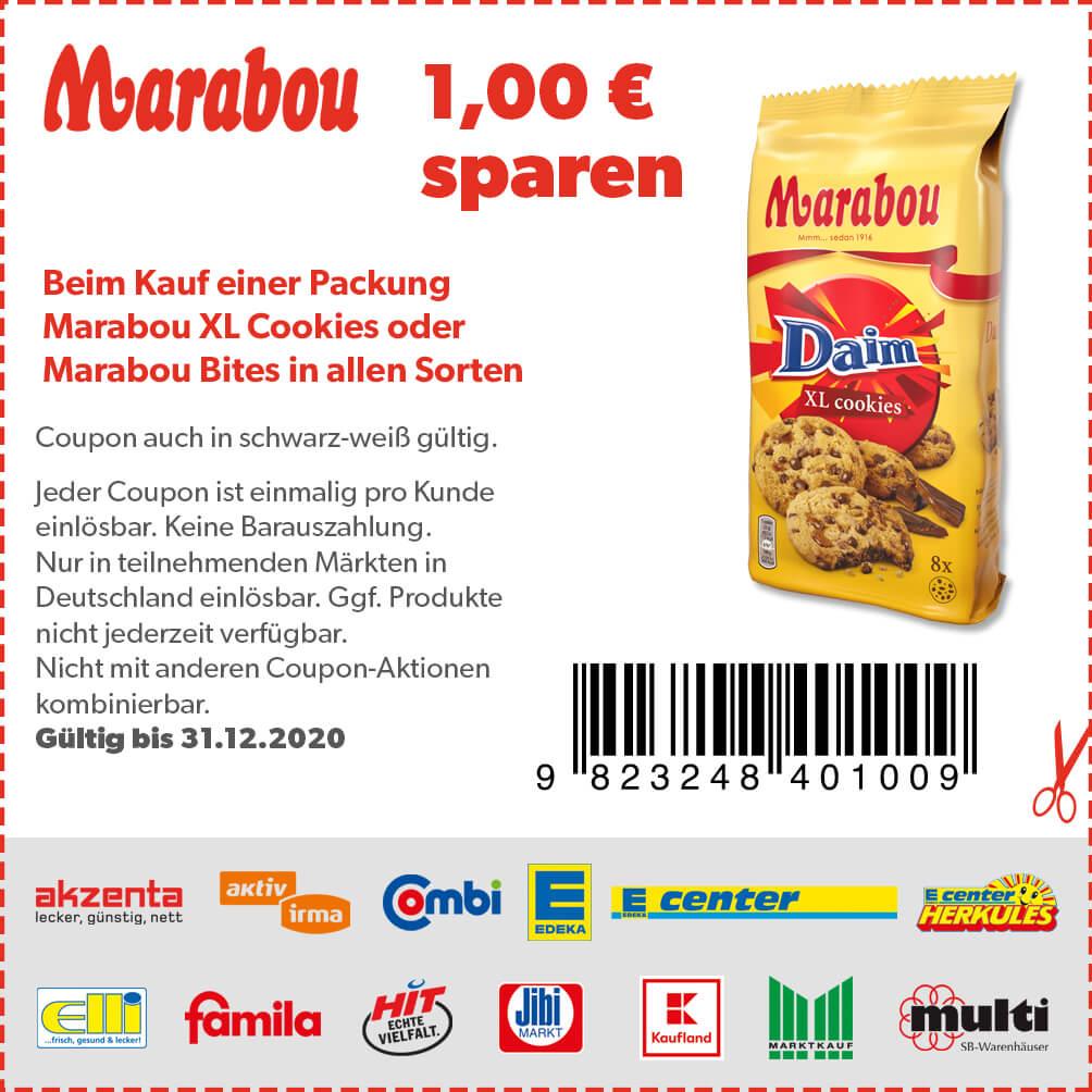 1€ Coupon für Marabou XL Cookies oder Bites (31.12.2020) zum Ausdrucken oder Vorzeigen