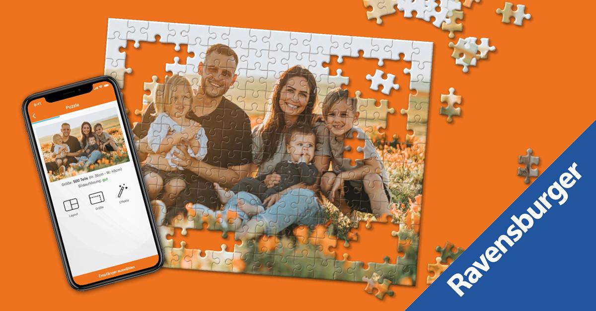 Fotos als Puzzle von Ravensburger & Postando - bis zu 50% Rabatt
