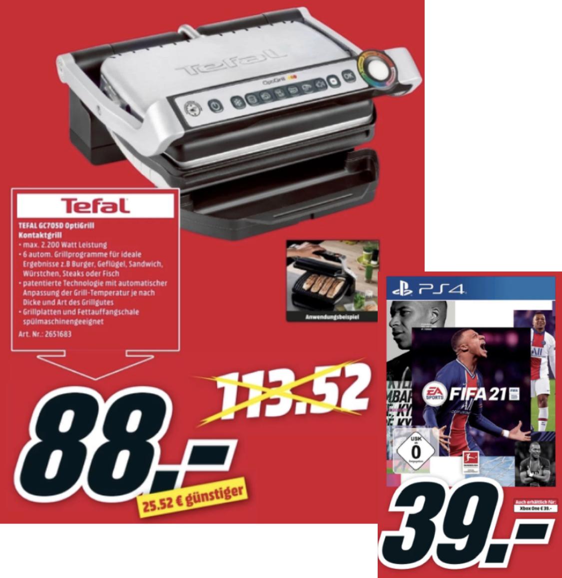 [Lokal MM Berlin] TEFAL Optigrill GC705D für 88€ / FiFA 21 für Playstation 4 für 39€ usw. am verkaufsoffenen Sonntag