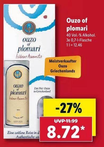 Ouzo Plomari mit Ouzo Glas