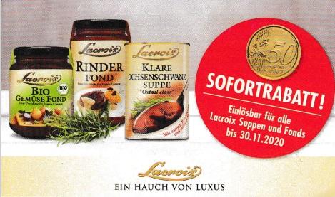 0,50€ Sofort-Rabatt auf Lacroix Produkt - gültig bis 30.11.2020