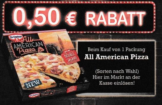 0,50€ Sofort-Rabatt für Dr. Oetker All America Pizza - gültig bis 31.01.2021