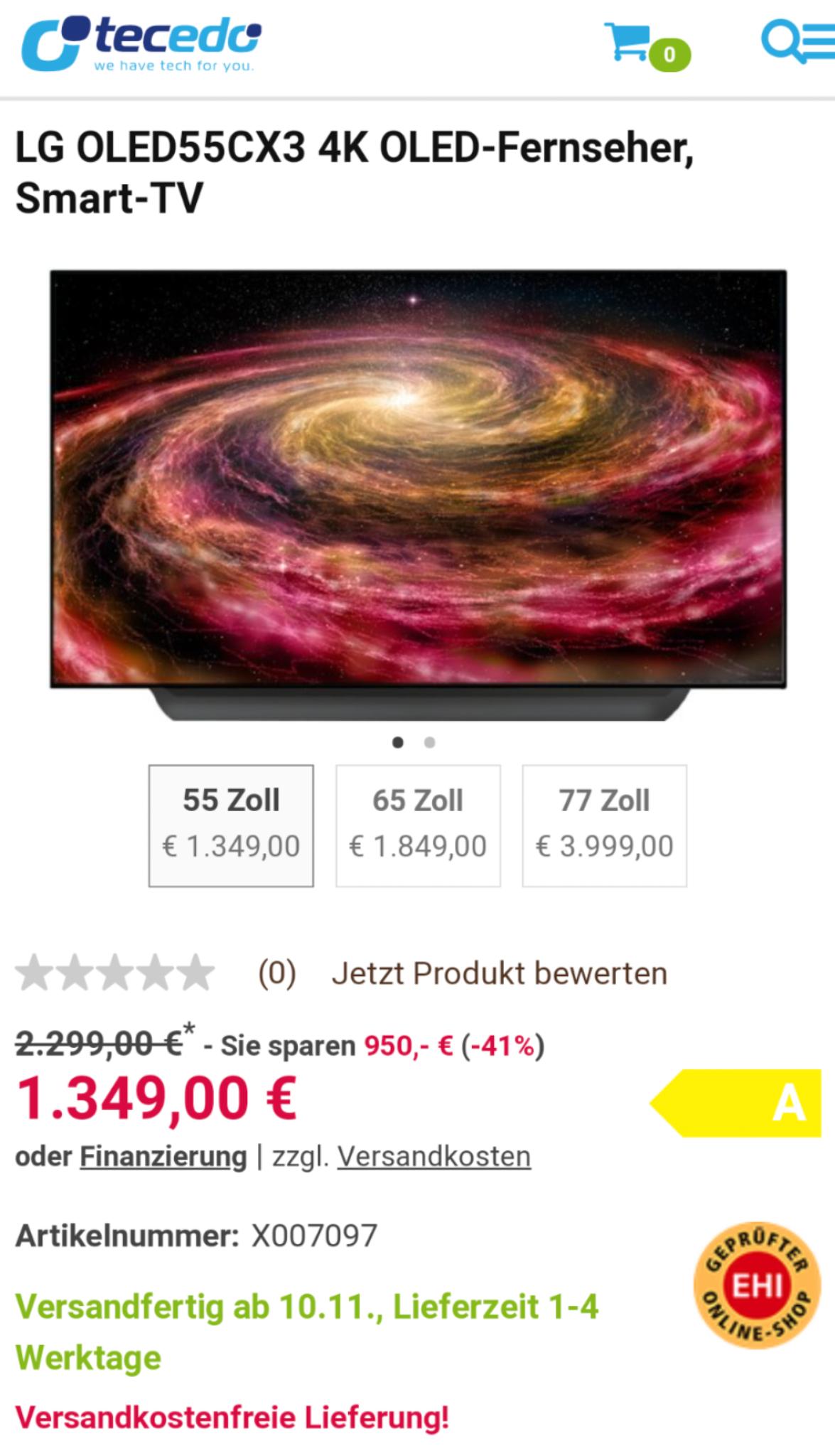 LG OLED55CX3 4K OLED-Fernseher, Smart-TV