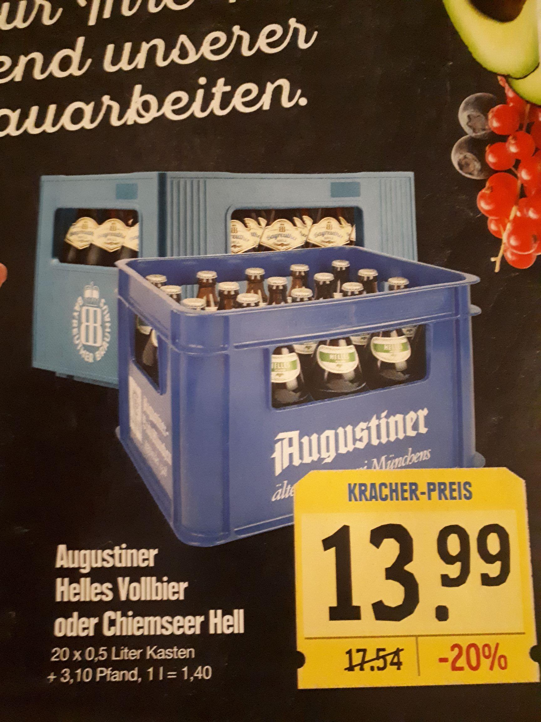 Lokal - Augustiner Helles Vollbier oder Chiemseer Hell für 13,99 € Edeka Würzburg