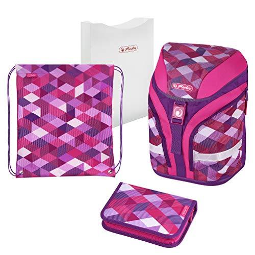 Herlitz Motion Plus Pink Cubes Schulranzen Set