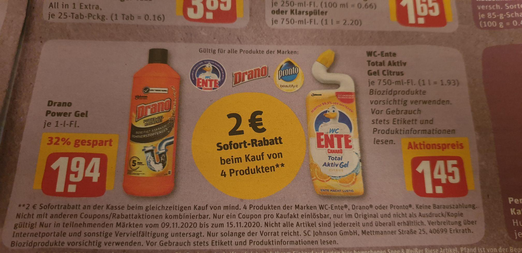 REWE Wc ente Total aktiv gel für 0,95 €/Stück beim Kauf von 4 Stück