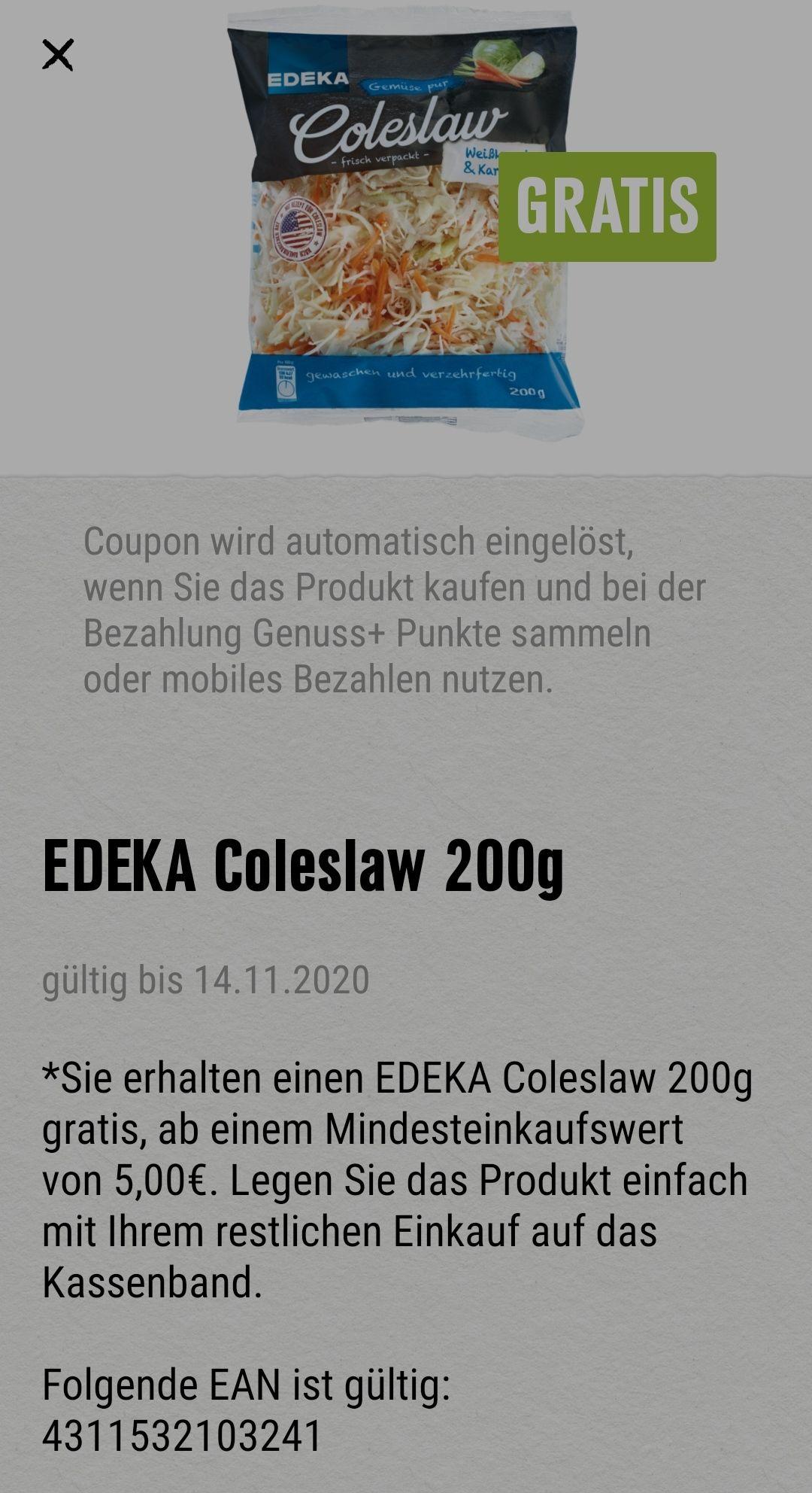 EDEKA Coleslaw 200g [Edeka Südwest Lokal / Genuss+App] ab 5€ Mindesteinkauf