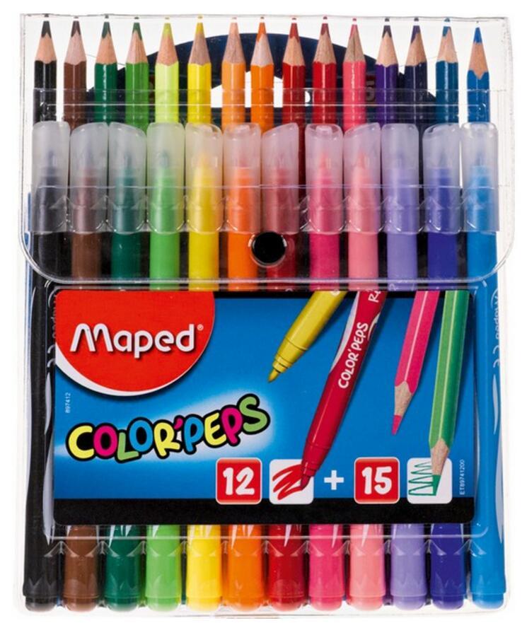 "Maped 27-teiliges Farbstift-Set ""Color'Peps"" (12 Fasermaler + 15 Buntstifte) [MÜLLER Filial-Abholung]"