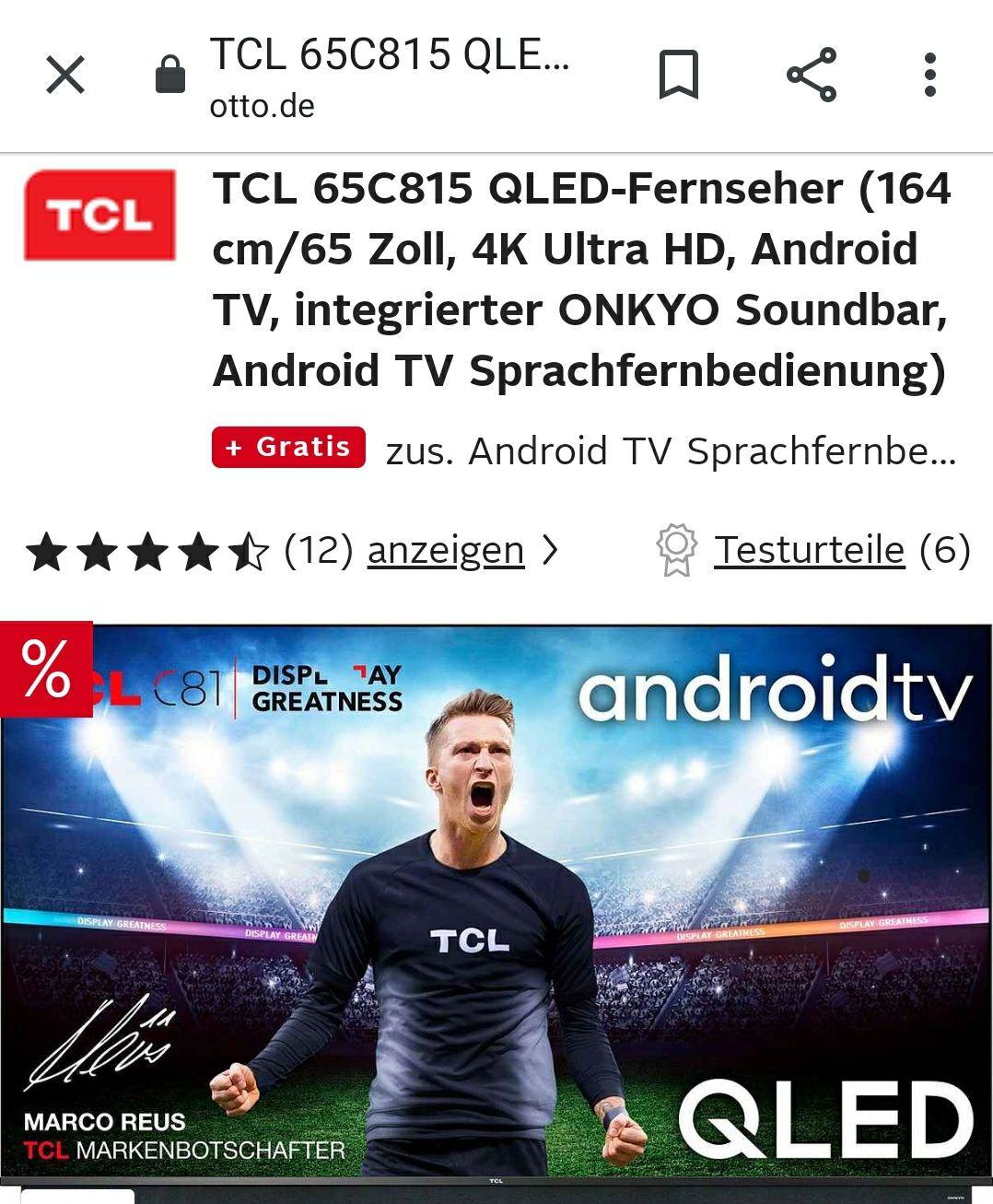 TCL 65C815 QLED-Fernseher (164 cm/65 Zoll, 4K Ultra HD, Android TV, integrierter ONKYO Soundbar, Android TV Sprachfernbedienung)