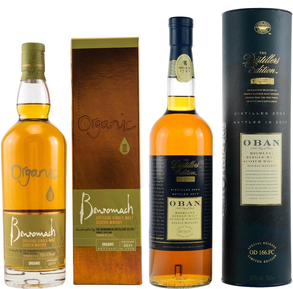Whisky-Übersicht #56: z.B. Benromach Organic 2011/2018 Single Malt für 34,07€, Oban Distillers Edition 2003/2017 für 53,00€ inkl. Versand
