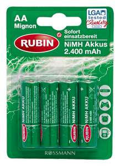 [Rossmann] Rubin Akkus Mignon AA / Micro AAA - Ready to use