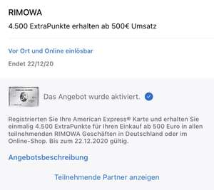 Amex Offer: 4500 Membership Rewards Punkte für 500 Euro Umsatz bei Rimowa