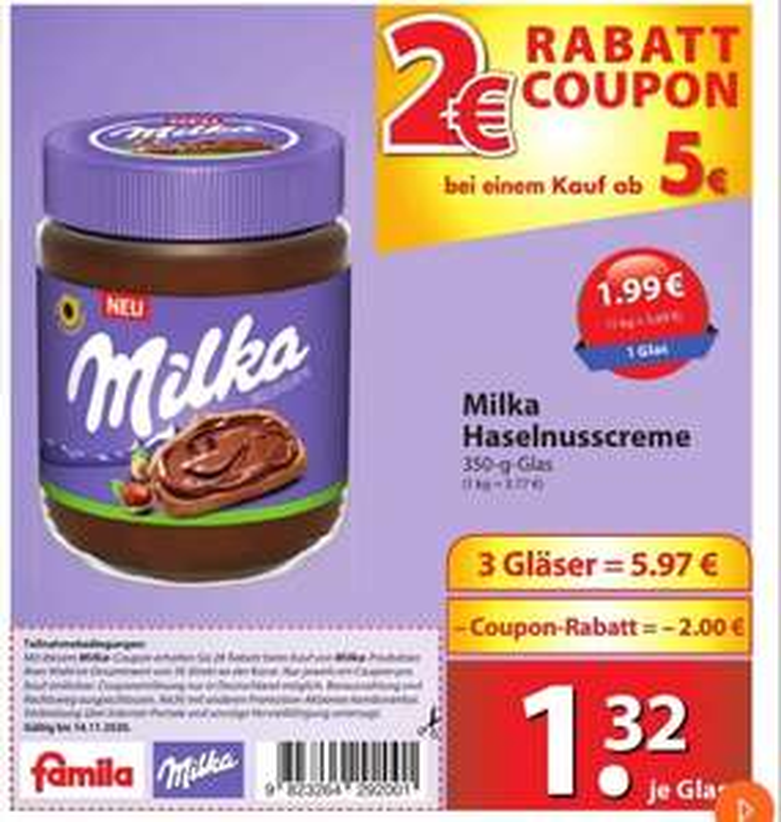 [Nord-Deutschland] Famila Nordost Milka Haselnusscreme 3 Stück 3,97 Euro (Stückpreis 1,32)