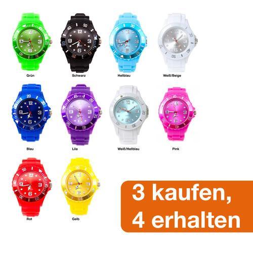 SILIKON UHR in verschiedenen Farben für nur 4,- EUR inkl. Versand!