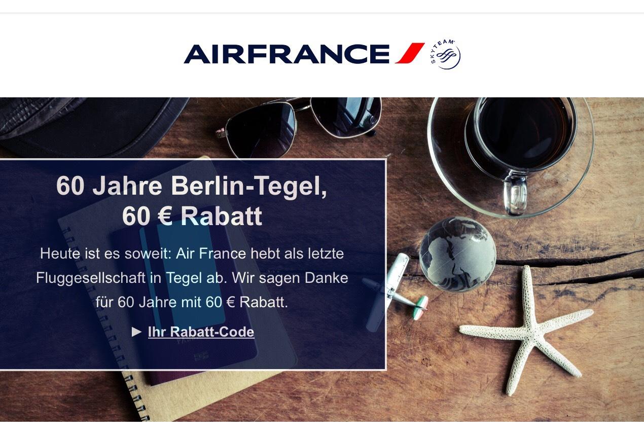 40,- € bzw. 60,- € Rabatt auf Air France Flüge