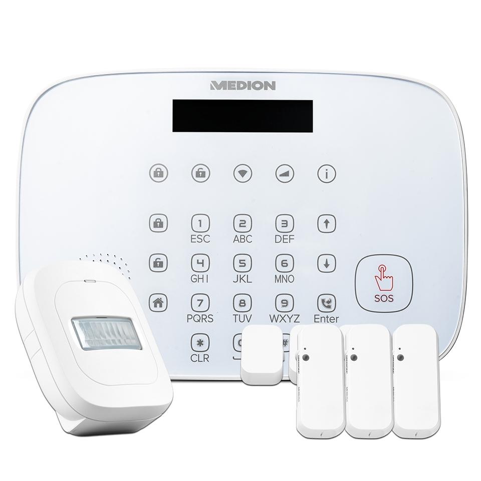 [NBB] MEDION P85773 Smart Home Security-Set [Alarm Zentrale, 3x Tür-/Fensterkontakt, Bewegungsmelder]