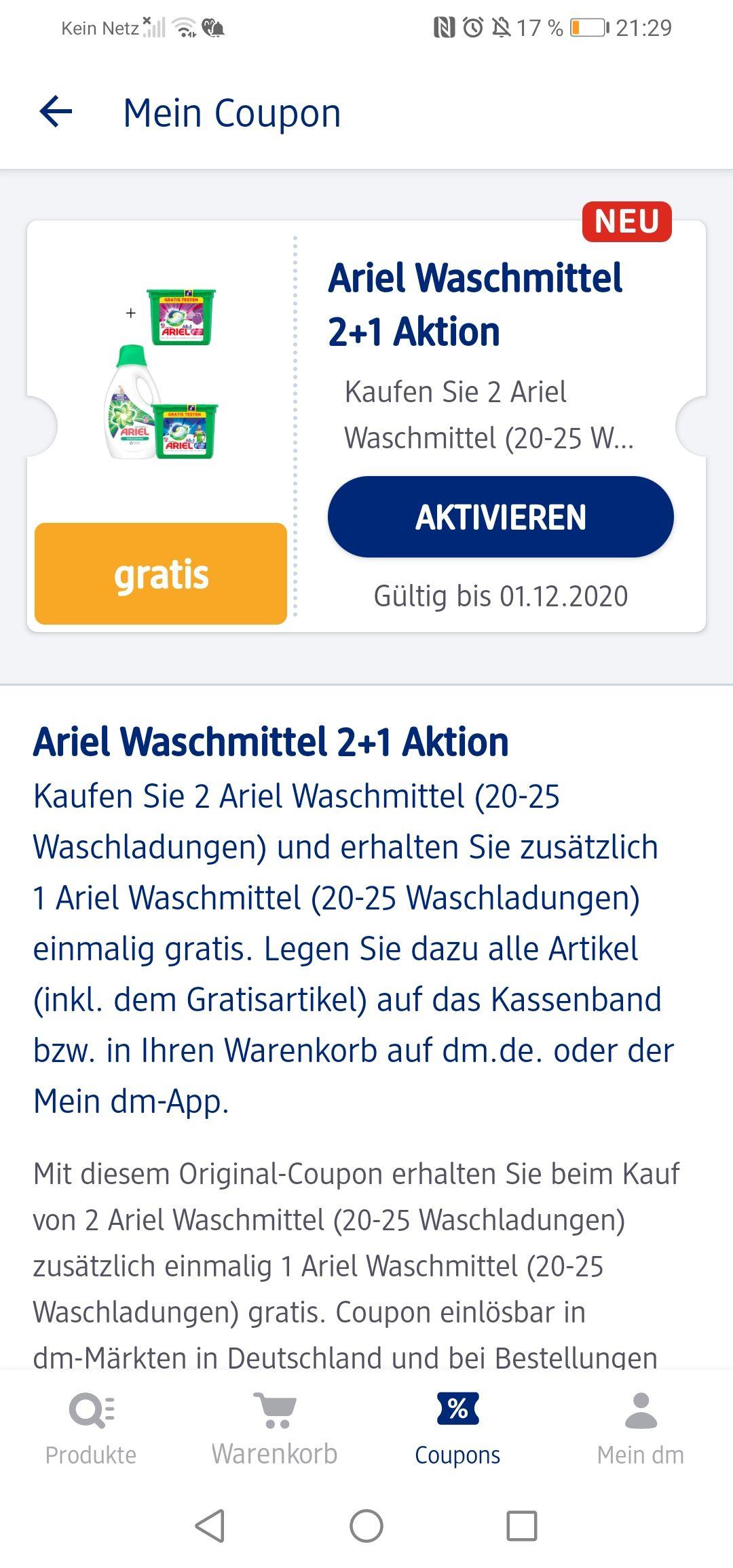 DM Ariel Waschaktion 2+1 und 20 % auf Listerine Mundspülung