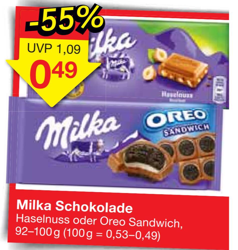[Jawoll+Coupies] 33 Tafeln Milka Haselnuss oder Oreo Sandwich Schokolade für 0,31€/Stück