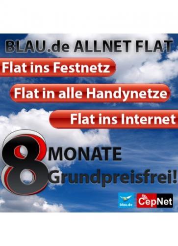 Blau.de Allnet Flat 8 Monate Grundpreisfrei, danach nur noch 19,90€