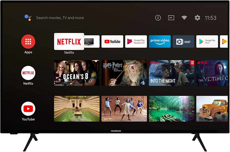 Techwood U43XA53B 43 Zoll Fernseher (Android TV inkl. Prime Video / Netflix / YouTube, 4K UHD [Amazon]