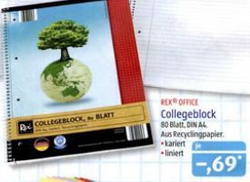 Collegeblock 80 Seiten DIN A4 kariert oder liniert bei Aldi Süd ab 7.2 für 0,69€