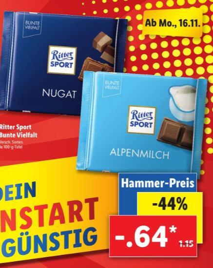 LIDL - Ritter Sport Bunte Vielfalt versch. Sorten 100g für nur 0,64€