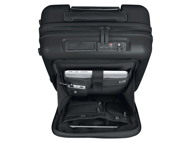 TOPMOVE® Handgepäckkoffer 33L schwarz inkl. Powerbank ,2x USB und Fronttasche