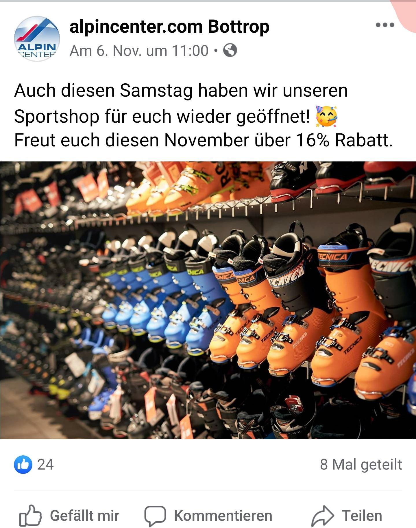 [lokal Bottrop] intersport Alpincenter Bottrop: 16% Rabatt auf alle Wintersportartikel (Bekleidung,Ski,SNB)