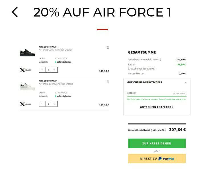 20% Rabatt auf viele neue Nike Air Force 1 Modelle