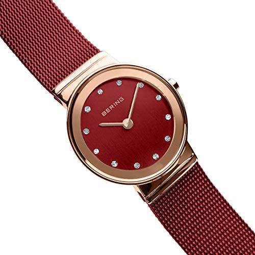 Bering Damen Armbanduhr Roségold / Rot, Edelstahl / Saphirglas - All Time Bestpreis
