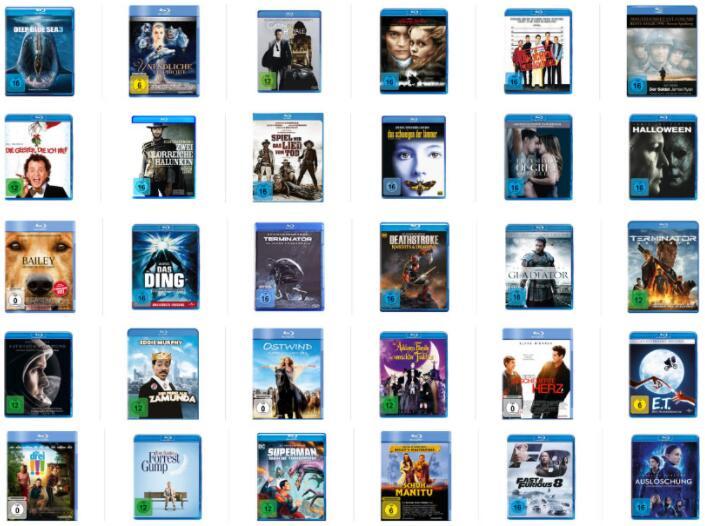 6 Blu Rays für 40€ - Auswahl aus über 200 Titeln