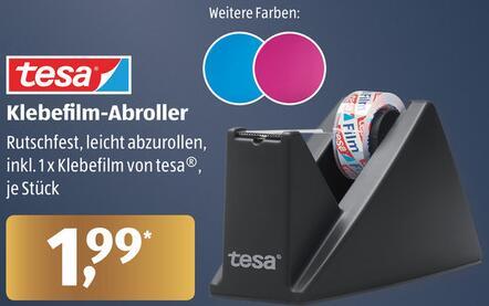 tesa® Tischabroller in schwarz/blau/pink oder 8er Pack tesa® Klebefilm-Rollen für je 1,93€ [ALDI Nord und Süd ab 23.11.]