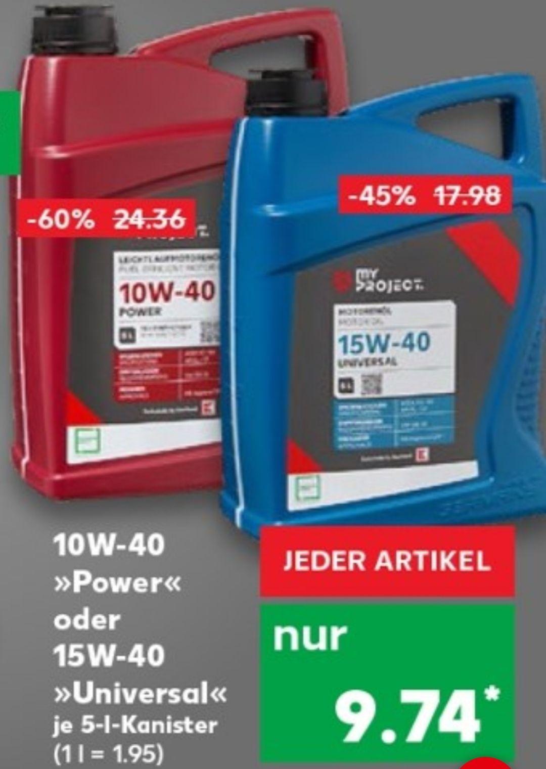 5 Liter Motoröl 10W-40 oder 15W-40 für 9,74€ statt 24,36€ bzw. 17,98€ Kaufland