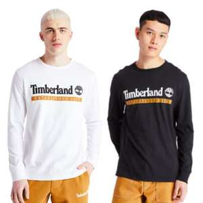 Singles' Day bei Timberland: 30% Rabatt auf ausgewählte nichtreduzierte Kleidung, z.B. ongsleeve mit Logoprint