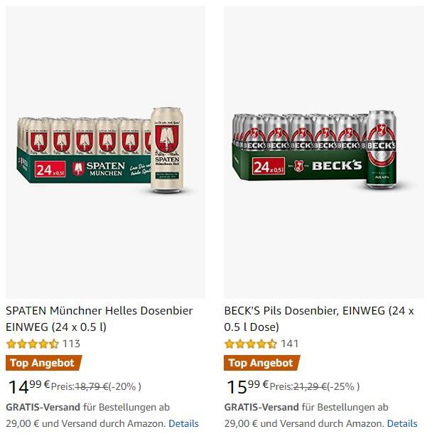 Dosenbier Deals bei Amazon, z.B. Spaten Hell / Löwenbräu 24x0,5l für 14,99€ + weitere Marken wie Beck's, Veltins, Warsteiner uvm