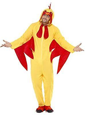 Smiffys Unisex Hühner Kostüm, All-in-one mit Kapuze, Größe: L,