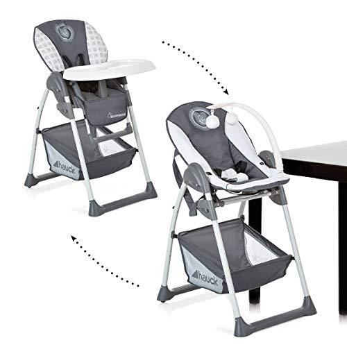 Hauck Sit'n Relax Newborn Set – Neugeborenen Aufsatz und Kinderhochstuhl ab Geburt, mit Liegefunktion / inkl. Spielbogen, Tisch