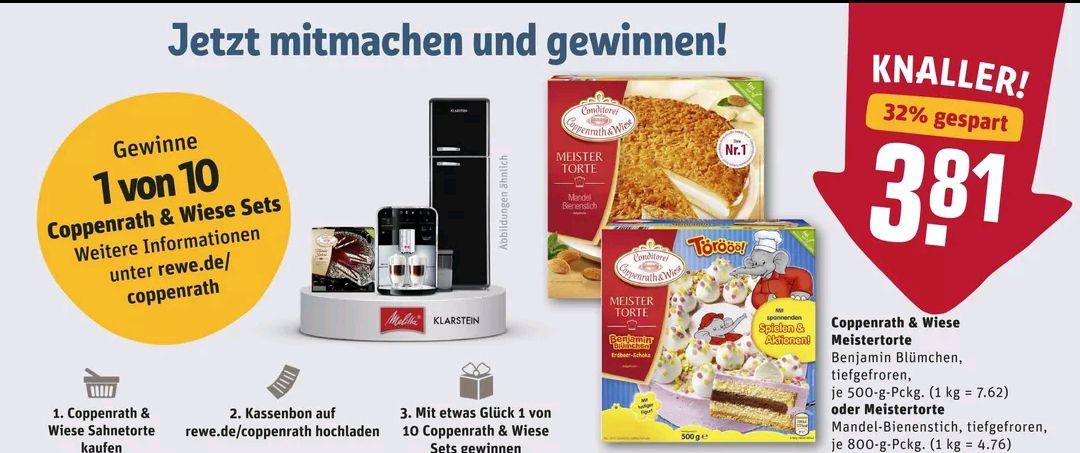 [REWE] Coppenrath & Wiese Meistertorte Benjamin Blümchen und Mandel-Bienenstich mit 1€ Coupon