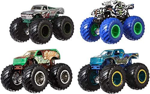 [Amazon Prime] Hot Wheels GBP23 Monster Trucks 1:64 Fahrzeuge 4-Pack, zufällige Auswahl, ab 3 Jahren