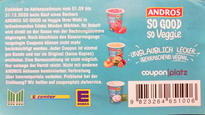 "Andros ""so good so veggie"" Joghurt 1 EUR coupon"