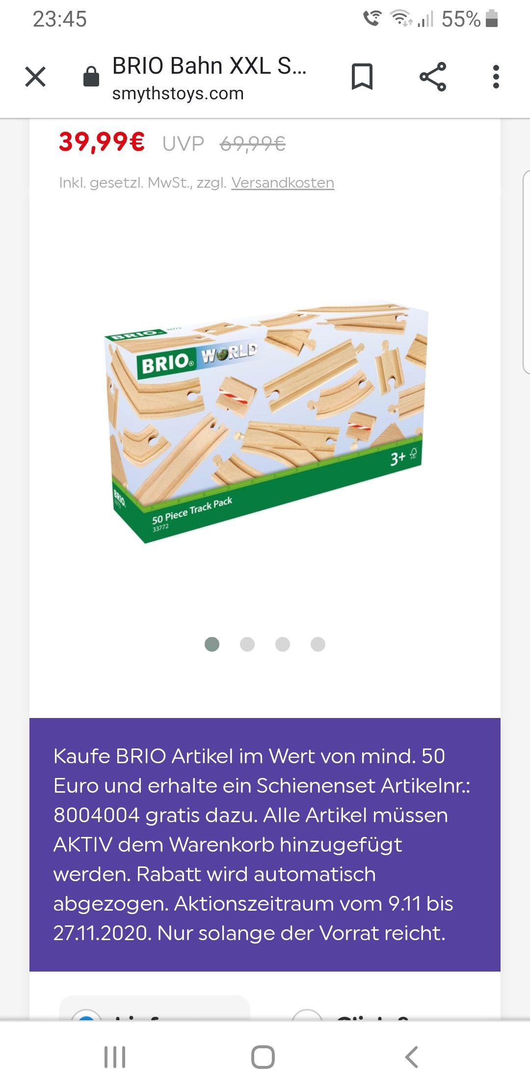 Brio World Schienenset XXL Gratis, bei Brio World Einkauf ab 50 Euro