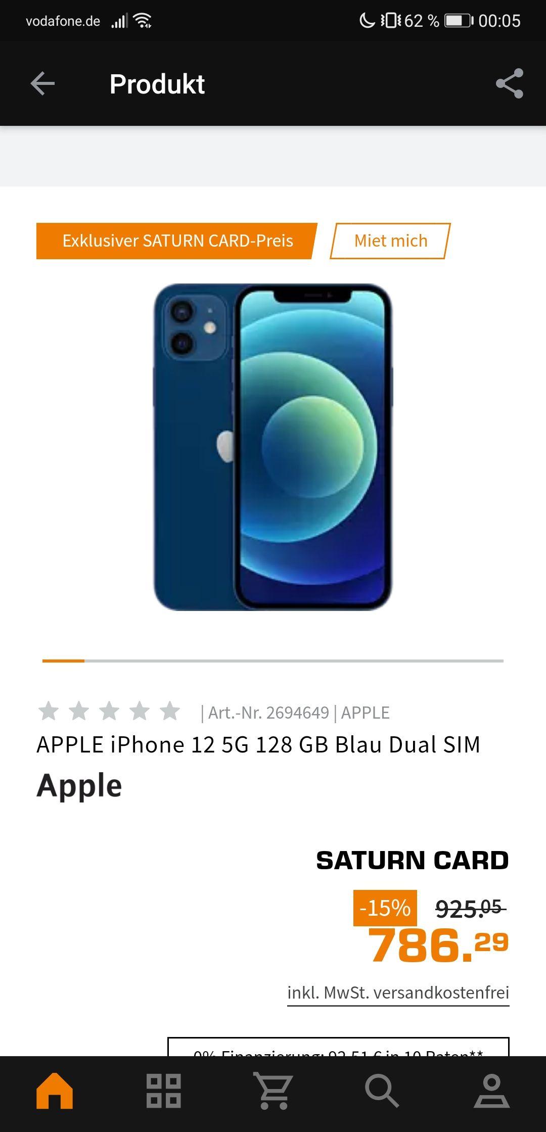 Iphone 12 in allen Farben mit 128GB beim Saturn SinglesDay